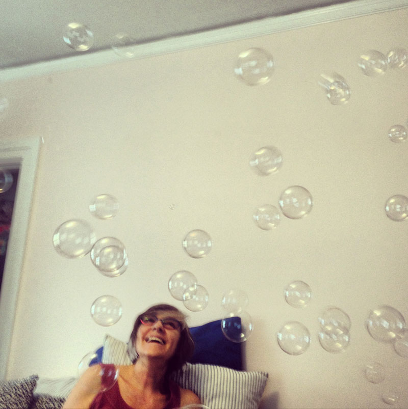 Lyn Cikara playing with bubbles